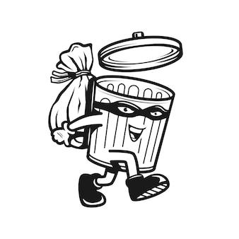 Heureux personnage de dessin animé de corbeille noir et blanc tenant des ordures