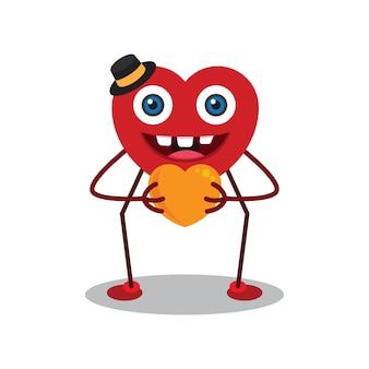 Heureux personnage de dessin animé de jour de valentine