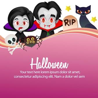 Heureux personnage de dessin animé de vampire d'halloween