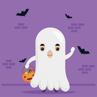 Heureux personnage fantôme mignon halloween et chauves-souris volant