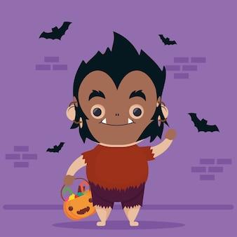 Heureux personnage de l'homme loup mignon halloween et chauves-souris volant