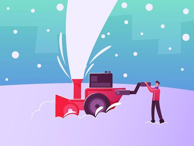Heureux personnage masculin travaillant à l'extérieur de la maison de nettoyage au sol ou rue de la neige avec une souffleuse à neige après des chutes de neige en hiver