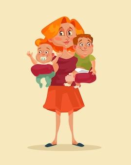 Heureux personnage de mère souriante tenant deux enfants dans les mains