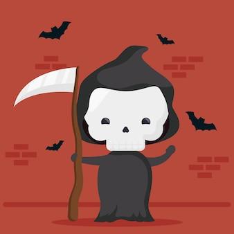 Heureux personnage de mort mignon halloween et chauves-souris volant