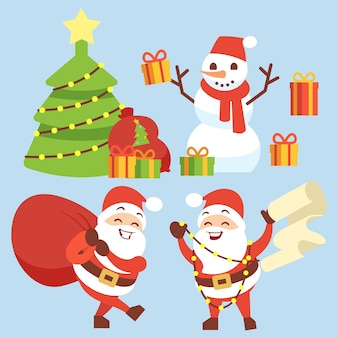 Heureux personnage plat du père noël avec sac cadeau, bonhomme de neige, arbre de noël et boîte cadeau
