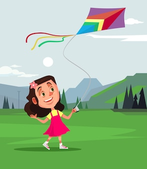 Heureux personnage souriant de petite fille jouant au cerf-volant de mouche. caricature de concept de printemps été