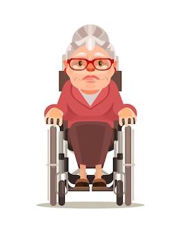 Heureux personnage de vieille femme souriante assis en fauteuil roulant