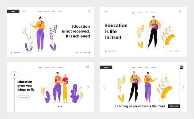 Heureux personnages étudiants avec page de destination de livres. étudiants masculins et féminins avec manuel. concept de remise des diplômes de l'éducation pour bannière, site web, page web.