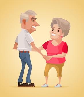 Heureux personnages de grands-parents souriants dansent