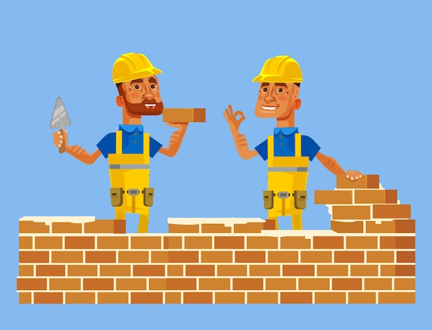 Heureux personnages de travailleurs de la construction souriants poser le mur de briques.