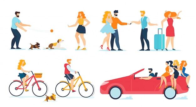 Heureux personnes voyageant, marchant, ensemble plat au repos