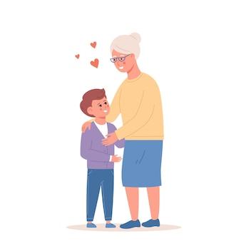 Heureux petit garçon étreignant l'illustration plate de vecteur de grand-mère souriante