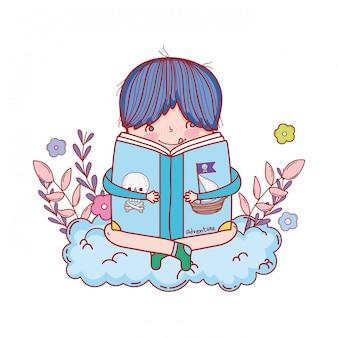 Heureux petit garçon lisant des livres avec des nuages