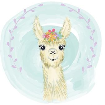 Heureux petit lama souriant