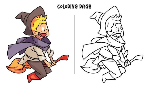 Heureux petit sorcier chevauchant un balai. coloriage imprimable et livre de coloriage