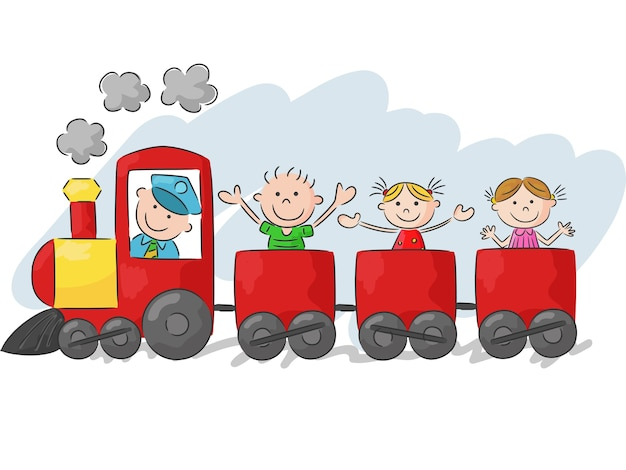 Heureux petits enfants dans un train coloré