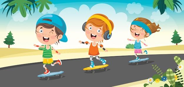 Heureux petits enfants à l'extérieur de la planche à roulettes