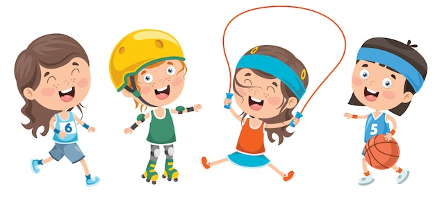 Heureux petits enfants faisant du sport