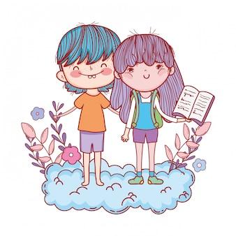 Heureux petits enfants lisant des livres dans les nuages