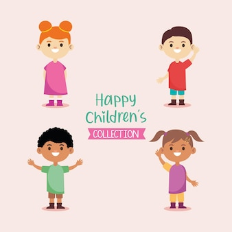 Heureux petits personnages de jeunes enfants et illustration de lettrage