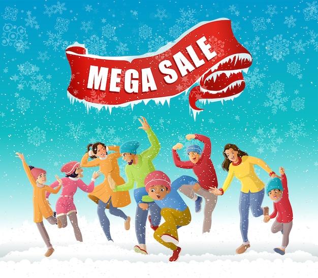 Heureux plaisir en famille en saison d'hiver illustration de l'offre de vente