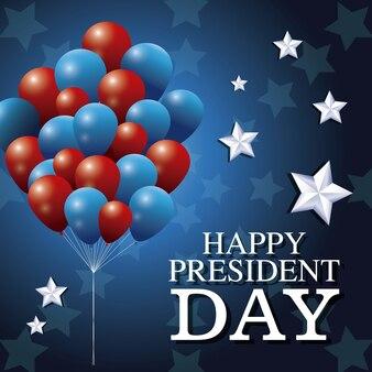 Heureux président jour ballons ballons patriotisme étoile fond