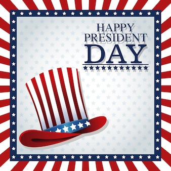 Heureux président jour chapeau haut de forme cadre américain