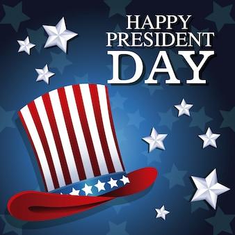 Heureux président jour chapeau haut de forme patriotique étoile fond