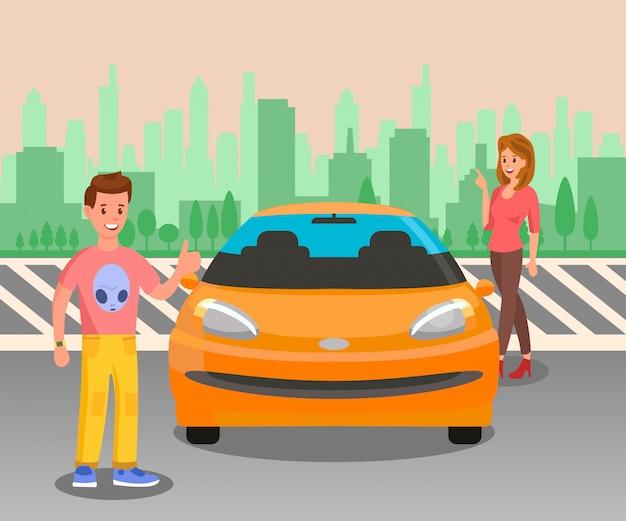 Heureux propriétaire de voiture, illustration vectorielle passionné