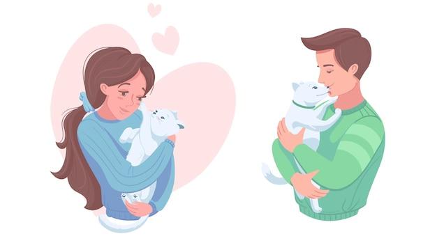 Heureux propriétaires d'animaux avec chiot et chaton, illustration vectorielle. fille et garçon caresser le chien, chat. soins aux animaux domestiques, amour.