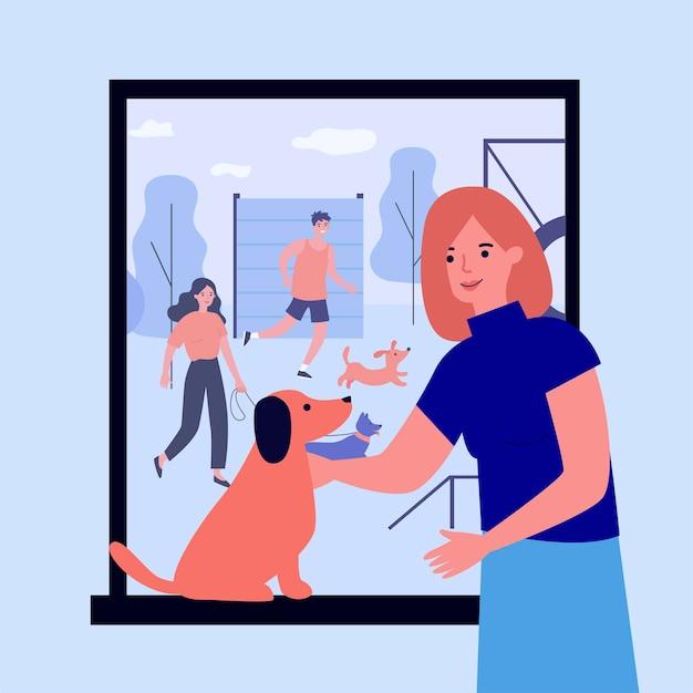 Heureux propriétaires dressant des chiens sur un site spécial. ami, chiot, chien illustration vectorielle plane