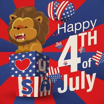 Heureux quatrième anniversaire de juillet avec lion