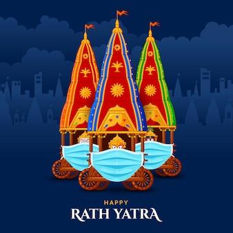 Heureux ratha yatra de lord jagannath balabhadra et subhadra portant un masque