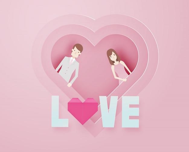 Heureux saint valentin 3d style papier art de couche avec guy intelligent et illustration vectorielle de texte