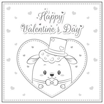 Heureux, saint valentin, mignon, mouton, dessin
