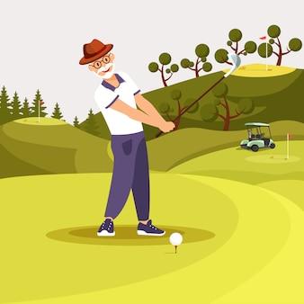 Heureux senior homme barbu en uniforme, jouer au golf.