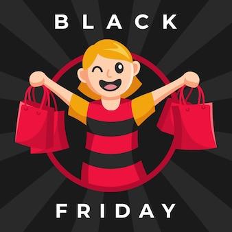 Heureux shopping fille vendredi noir