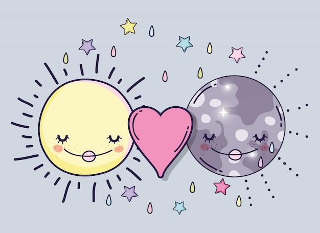 Heureux soleil et lune avec coeur