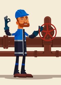 Heureux souriant caractère homme travailleur pétrolier montrant signe ok