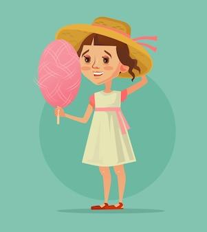 Heureux souriant mascotte de personnage de petite fille mangeant de la barbe à papa rose. bonne journée de printemps d'été.