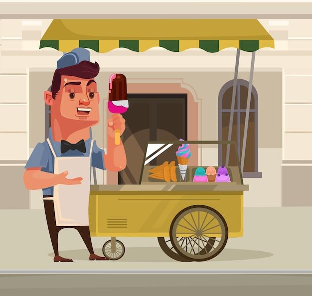 Heureux souriant mascotte de personnage de vendeur de crème glacée debout près de voiture de crème glacée