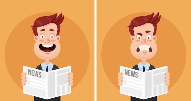 Heureux souriant et triste déçu frustré expression de colère visage homme d'affaires gestionnaire