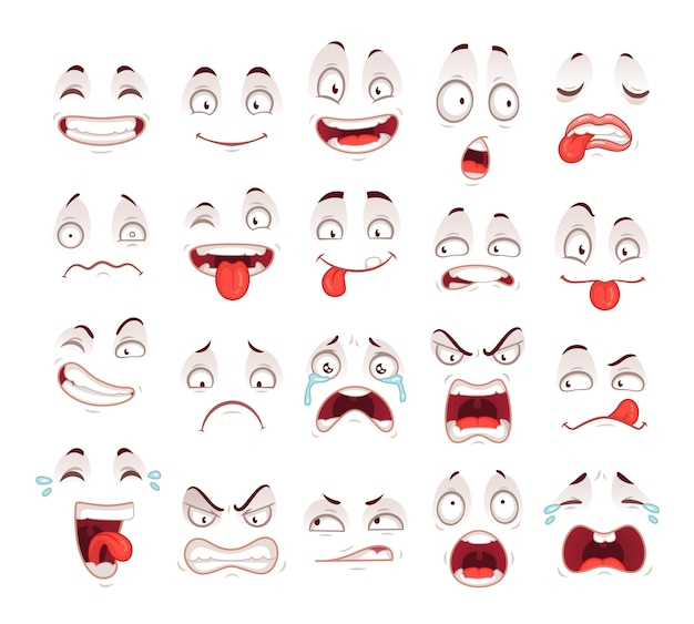 Heureux sourire excité rire malheureux bouche cri cri et fou malade effrayé visage expressions symbole personnage