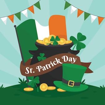 Heureux st. patrick's day dessiné à la main avec drapeau