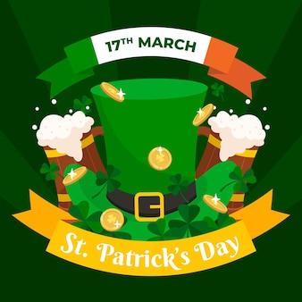Heureux st. patrick's day dessiné à la main avec un grand chapeau