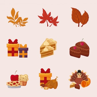 Heureux thanksgiving day icon set vector design