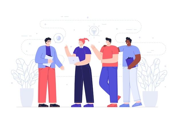 Heureux travailleurs partageant des idées
