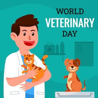 Heureux vétérinaire célébrant un vétéran avec un chat et un chien en bonne santé