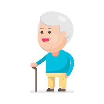 Heureux vieillard mignon souriant