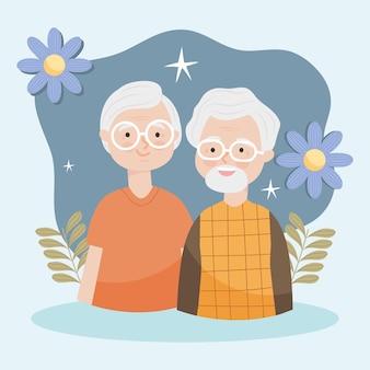 Heureux vieux couple illustration avec des fleurs